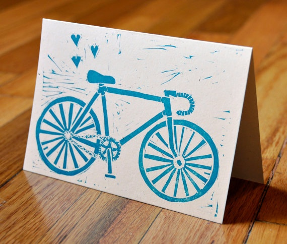 Bike Love Linocut Cards with Envelopes  by thelivingletterpress, $8.00