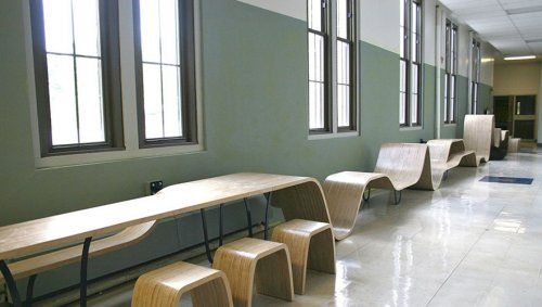 flexible wave seating/tables. Is it a bench? A table? a slide?  looks like it could play with our own noodle wave graffic!