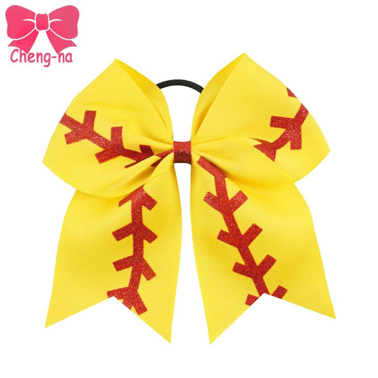 """3pcs/lot 7"""" Large Yellow Ribbon Red Glitter Softball Cheer Bow Girls Cheerleading Hair Bows Sport Hair Accessories For Kids"""