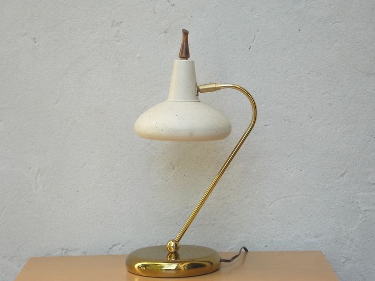 Brass & Cream Desk Lamp with Speckled UFO Shroud with Starlight Cutouts