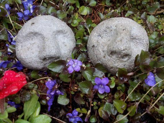 Garden Face Rocks Gnome Rocks Hypertufa Sculpture