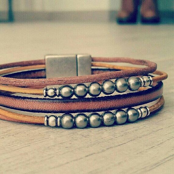 Man multi strand beads bracelet hipster urban hippie jewelry