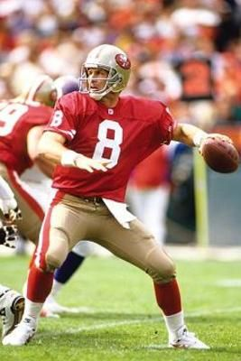 steve young   Steve Young played with the Tampa Bay Buccaneers, but is best known a a hall of fame legend for the 49ers