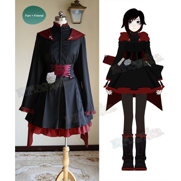 RWBY Cosplay, Ruby Rose Gothic Outfit Costume ($270) ❤ liked on Polyvore featuring costumes, rubies costumes, rubies halloween costumes, rose costume, role play costumes and goth halloween costumes
