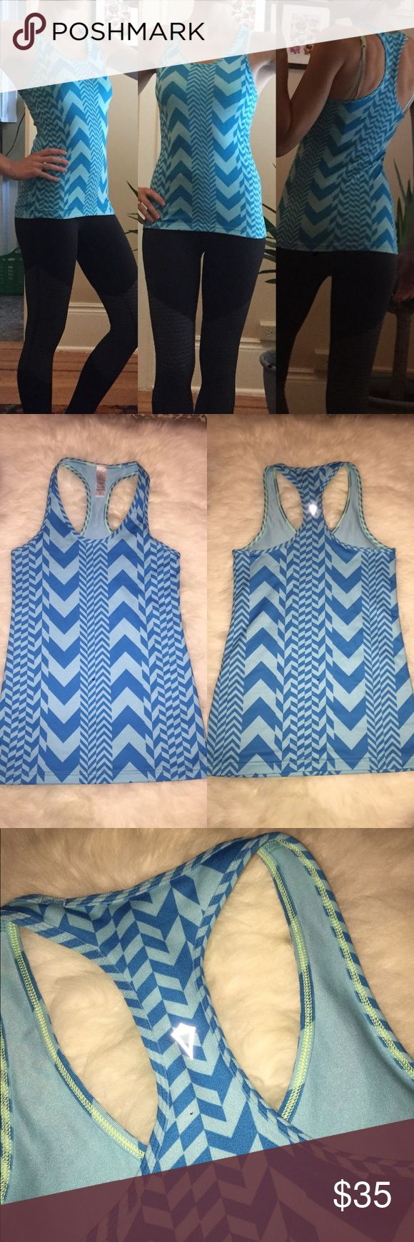 Ivivva💕Chevron Stripe Yoga Blue Cool Racerback Lovely Patagonia regulator half zip that's the perfect layer to keep you warm on a chilly fall or winter morning! Perfect layer for any activity in a gorgeous color!!  ❤️️blue and light blue color  ❤️️Size 10 in ivivva so fits like a Lulu size 4  ❤️️excellent used Condition - missing zipper pull otherwise no flaws   🚫trades//bundle and save✅✅  Item #70524 Ivivva Tops Tank Tops