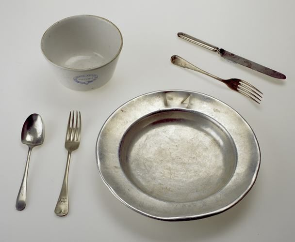 Meal plate used by patients for dining in a mental health hospital Mayday Hills Hospital, formerly Beechworth Lunatic Asylum in Beechworth Victoria Australia circa 1900. Used in ward (F4) for female patients.