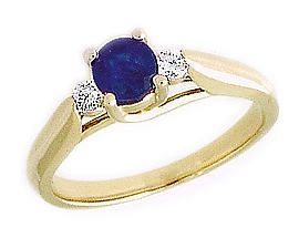 ApplesofGold.com - 14K Gold Three Stone Sapphire and Diamond Ring  ApplesofGold.com sweeps