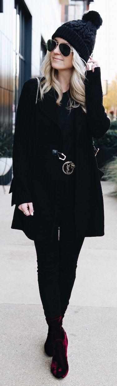 #winter #fashion /  Black Beanie / Black Coat / Black Skinny Jeans / Burgundy Velvet Booties