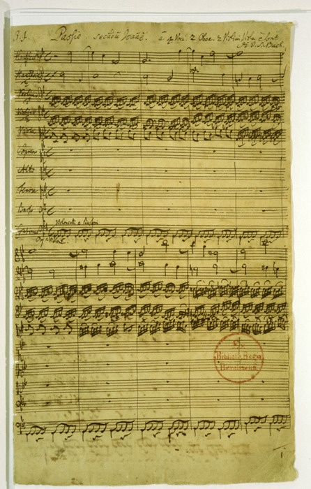 musician...J.S. Bach...First page of the autograph of the Johannespassion, BWV 245