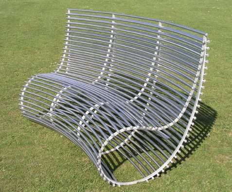 high back garden bench made in stainless steel moore designs - Garden Furniture Steel