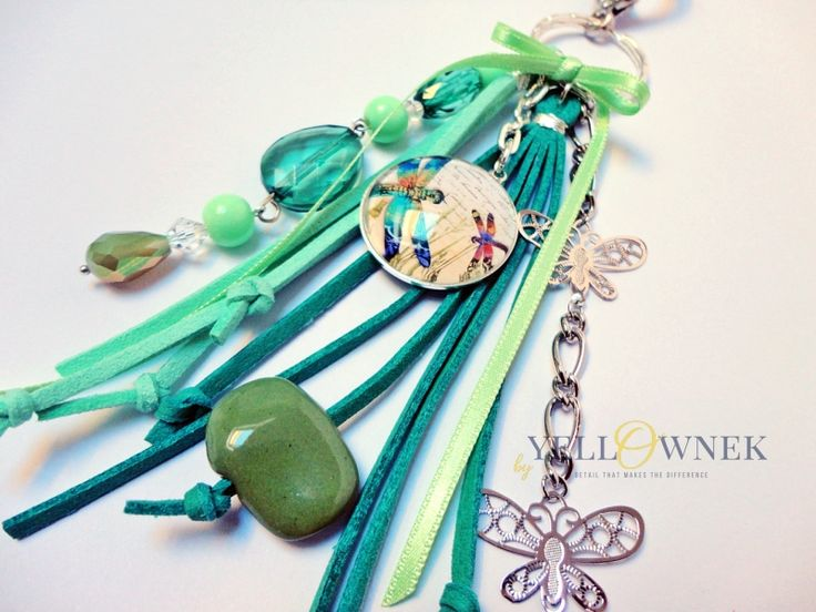 DRAGONFLY  Handmade bag charm/keyring. Mix of leather, glass cabochon, chains glass/ceramic/wood/plastic beads and satin ribbon.