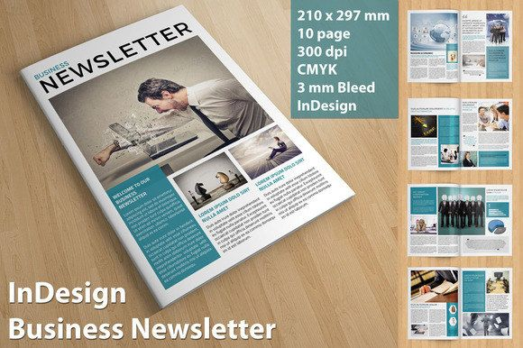 Business Newsletter Template | InDesign CS and MS Word Version | 10 pages | CB-001 http://etsy.me/2mMAtfl #business #brochure #newsletter
