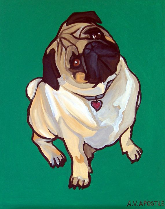 POP ART PRINT Pug Dog Green Background Signed by AVApostleDesign, $9.95