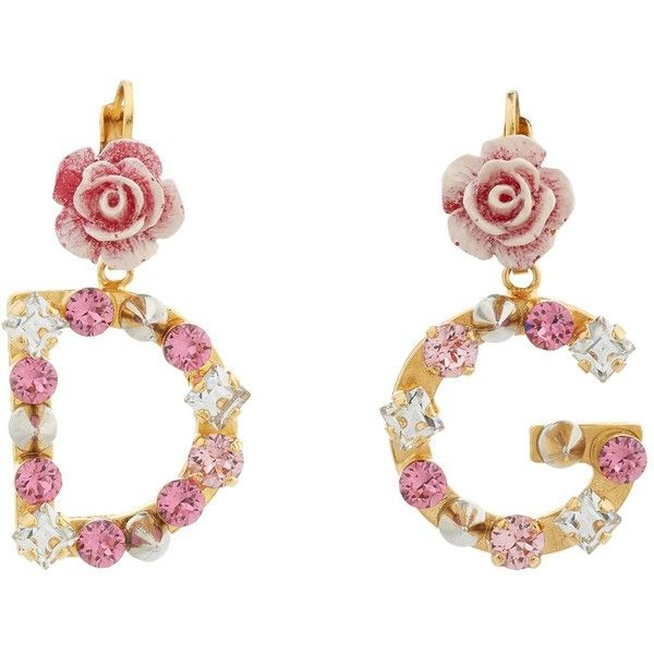 Dolce & Gabbana Crystal-Embellished Logo Earrings (30.625 RUB) ❤ liked on Polyvore featuring jewelry, earrings, resin rose earrings, resin jewelry, rose jewellery, rose jewelry and rose earrings