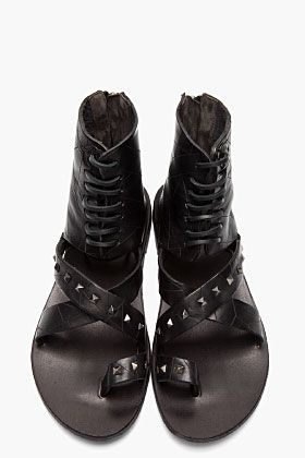 DIESEL BLACK GOLD Black Studded Leather Anibal H Sandals