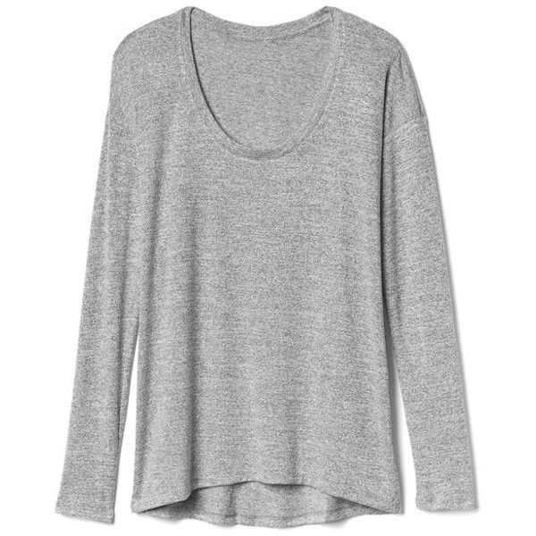 Gap Women Softspun Scoop Neck Batwing Tee ($40) ❤ liked on Polyvore featuring tops, t-shirts, light grey marle, tall, drop shoulder t shirt, relax t shirt, scoop neck tee, long sleeve tees and curved hem tall tee