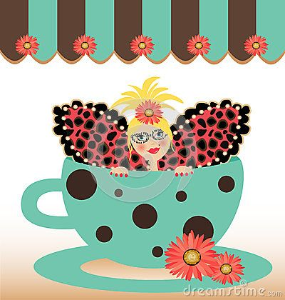 Cute coffee cup fairy  illustration with daisy flowers.