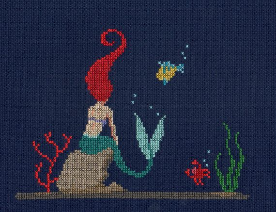 Little Mermaid PDF Pattern Modern Cross von ScarlettStitches   – Stitching