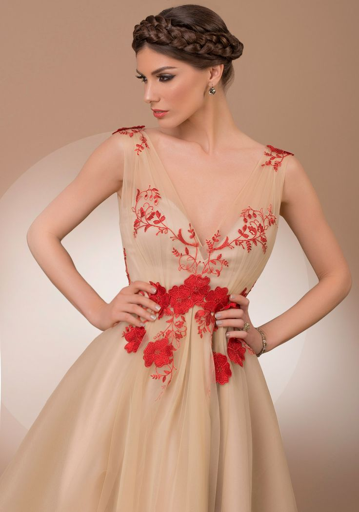 My Magic Secret Star, nude tulle with red lace embroidery luxury cocktail dress, 2016 My Secret by Bien Savvy