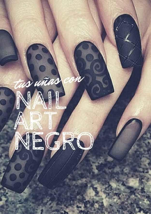 25 Nail arts para las amantes del color negro