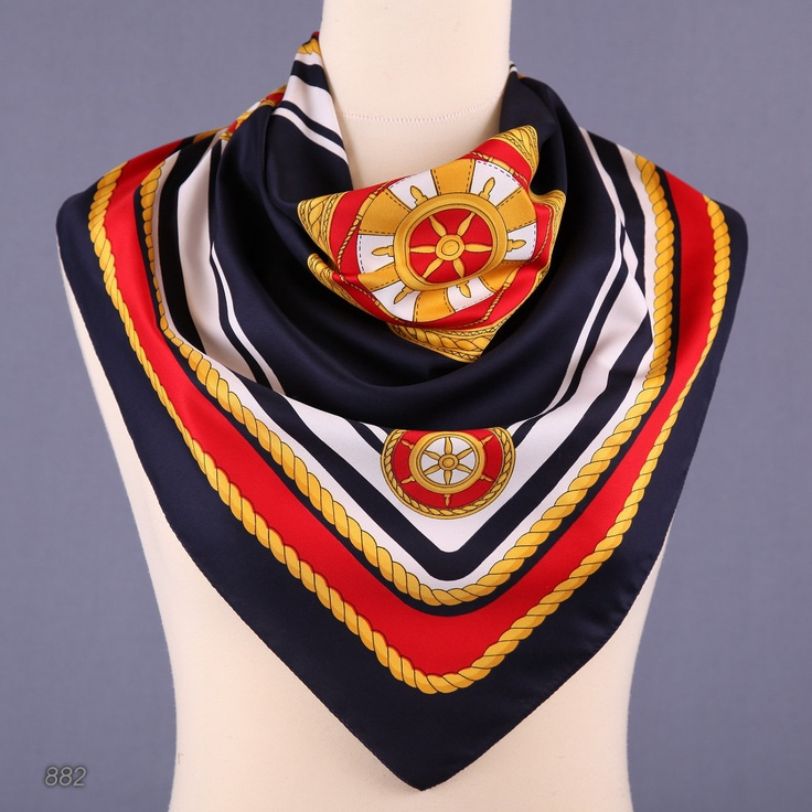 Scarf in patriotic colors navy red and white nautical scarves