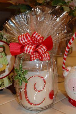 Candela con monogramma ma, per ispirazione, pacchetto per regalo in barattolo #idee #regalo #pacchetto