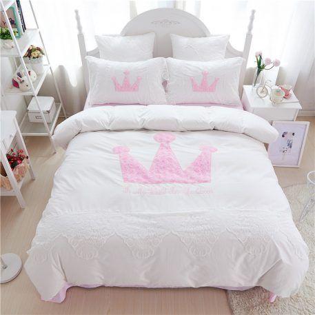 Best 100 Cotton Girls Kids White Princess Royal Bedding Set 400 x 300