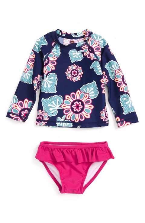 Tea Collection Wando Two-Piece Rashguard Swimsuit (Baby Girls)