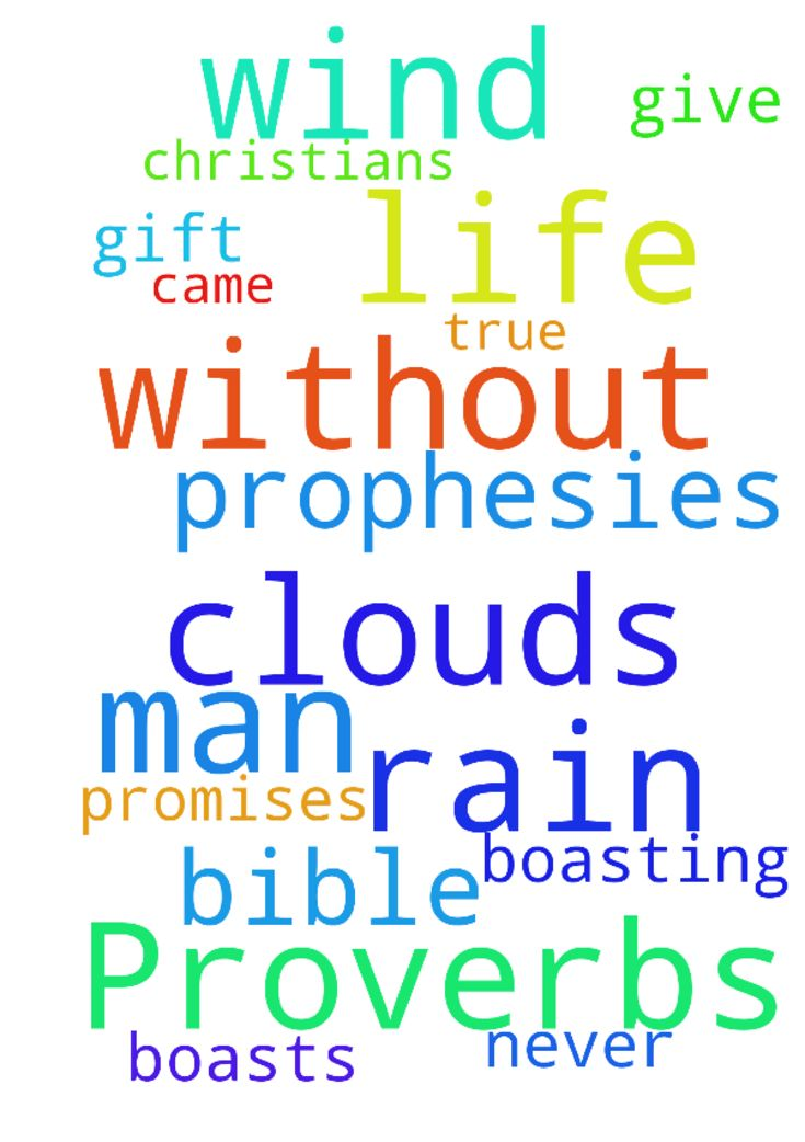 Proverbs 25:14 Like clouds and wind without rain is - Proverbs 2514 Like clouds and wind without rain is a man who boasts of a gift he does not give. In my life that man is God. And boasting is promises in the bible and prophesies from other Christians that never came true in my life. Posted at: https://prayerrequest.com/t/GxG #pray #prayer #request #prayerrequest