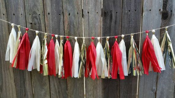 Check out this item in my Etsy shop https://www.etsy.com/listing/265125575/gold-red-and-cream-tassel-garland-49ers