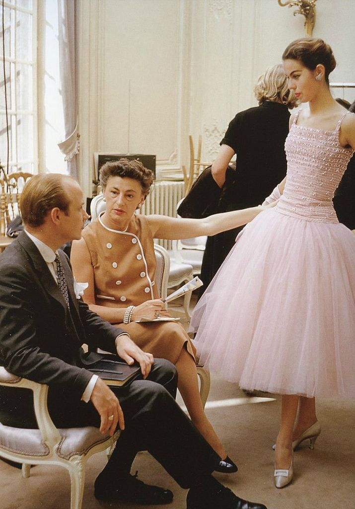 """Odile in Dior's tulle confection called """"Cuba"""", Autumn/Winter collection H-line 1954, photo by Mark Shaw, Maison Dior, Paris."""