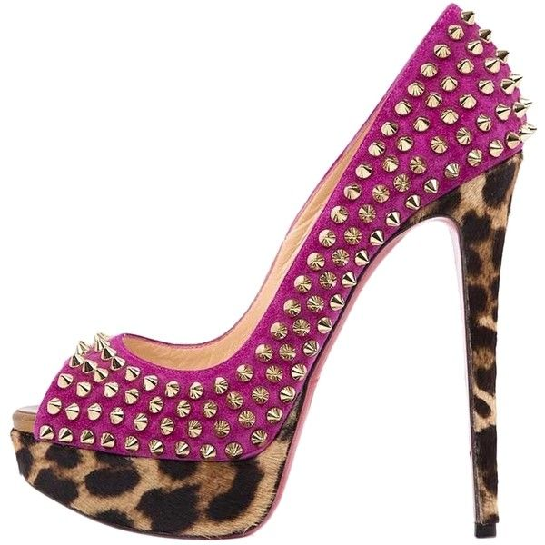 Pre-owned Christian Louboutin Studded Peep Toe Pink Pumps (1,315 ...