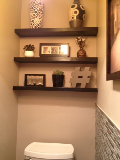Floating Shelves Above Toilet In Small Half Bath