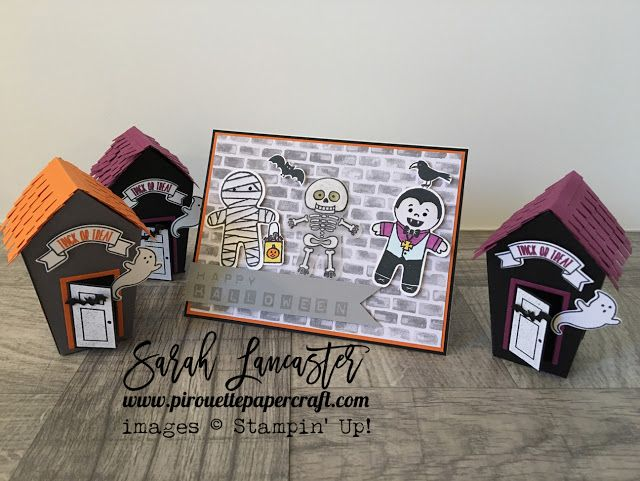 Cookie Cutter Halloween Stampin Up and Home Sweet Home thinlits dies for some spooky fun ! Stampin' Up! demonstrator Sarah Lancaster - pirouette paper craft #stampinup
