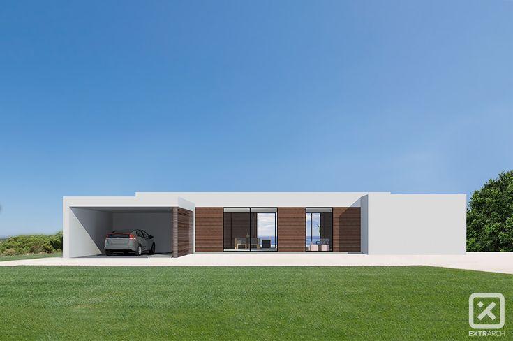 Extrarch 1 render esterno villa moderna contemporanea intonaco bianco legno vetrate prato
