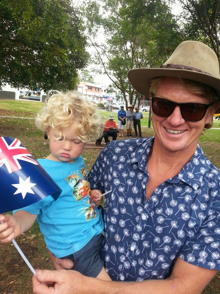 The Australian national anthem is sung beautifully at the Australian Citizenship Ceremony. Nathan and Corey Robinson enjoying the celebrations today at Hindmarsh Park, Kiama.