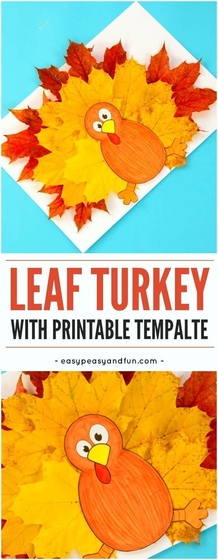 Turkey leaf craft for kids with template. Fun Fall…