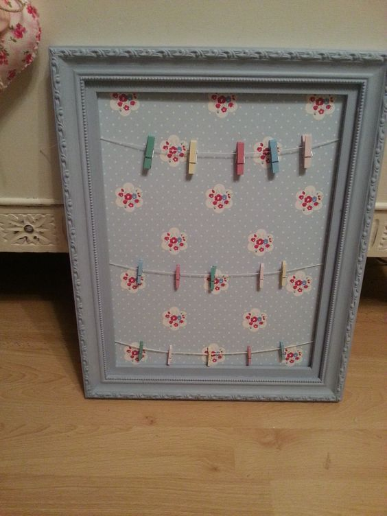 Wallpaper notice board with pegs and pretty shabby chic paper