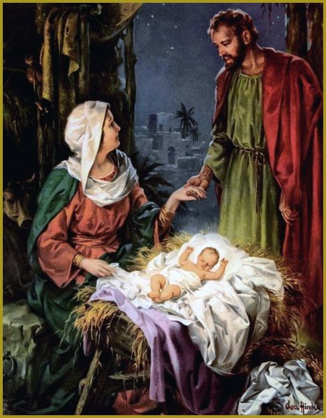 Mary, Joseph, and baby Jesus - no artist listed