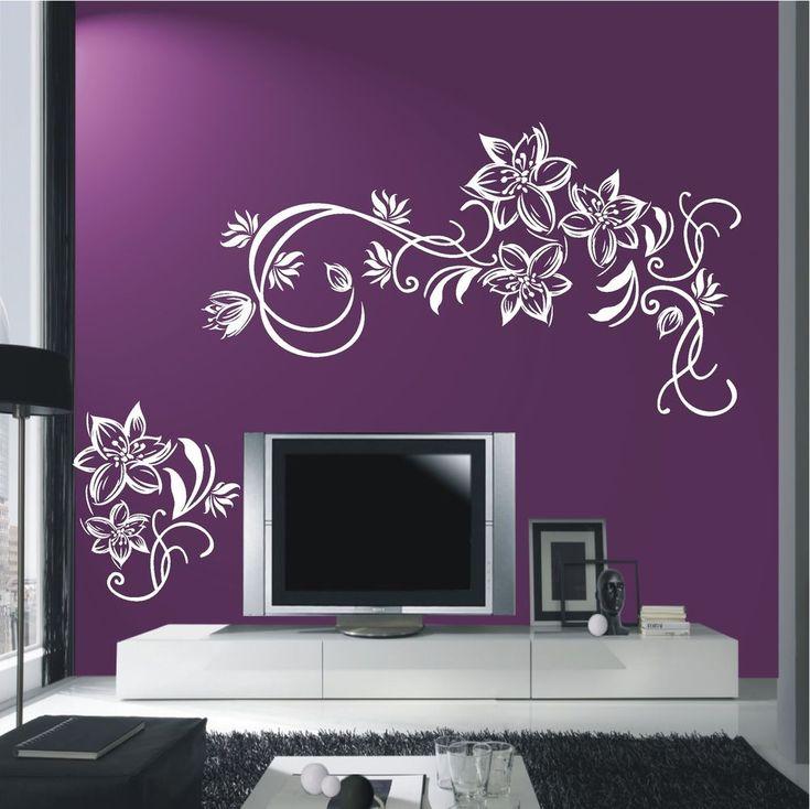 Epic Details zu WANDTATTOO Wandaufkleber Blumen Ranke Bl ten Bl tenranke Wohnzimmer XL