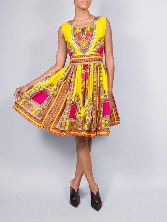 Serengetti doll Ankara print dress  open back wax print dress African knee length print dress  African wax dress  kitenge dress