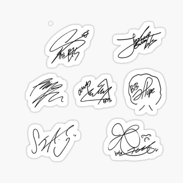 Bts Stickers In 2021 Bts Signatures Stickers Print Stickers