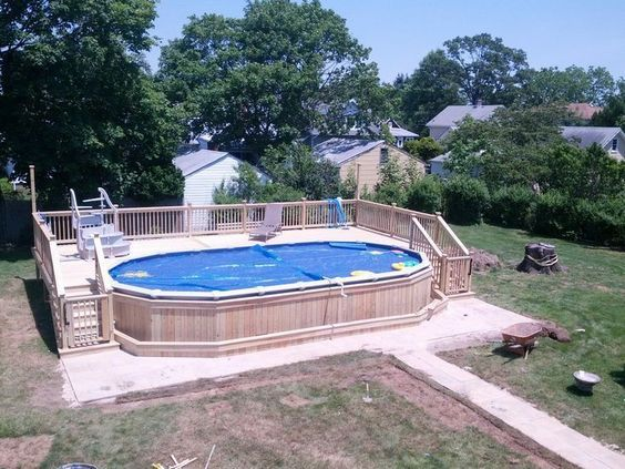 17 best ideas about oval above ground pools on pinterest for Above ground pool decks nj
