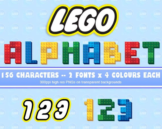 156 LEGO Alphabet PNG  300 DPI  lego font  Lego by HeartsPaperArt