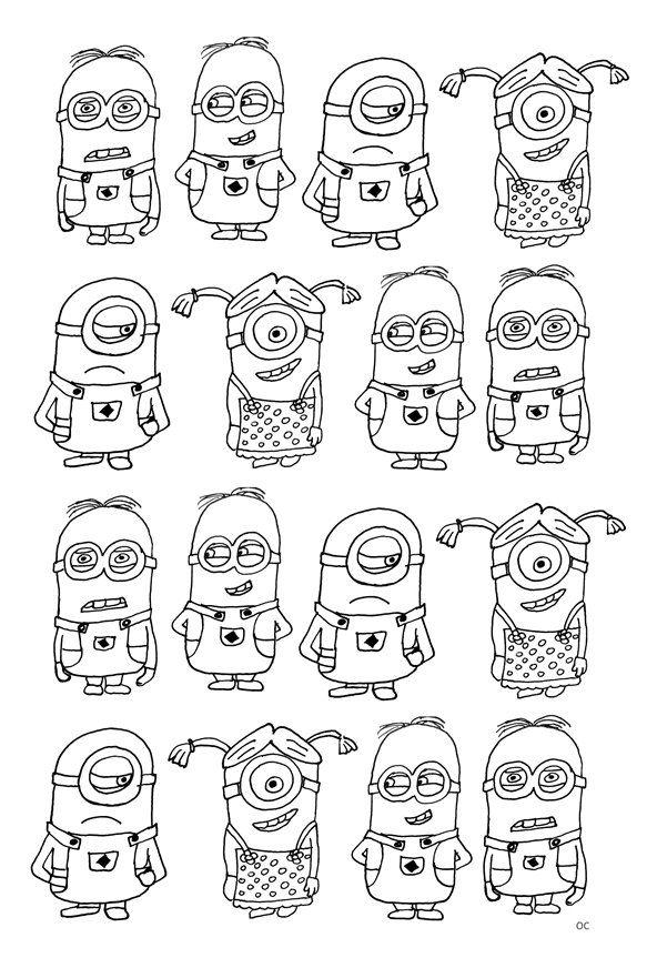 Kleurplaten Minions A4.Print Minions 16 Kleurplaat Doodles Kleurplaten Adult