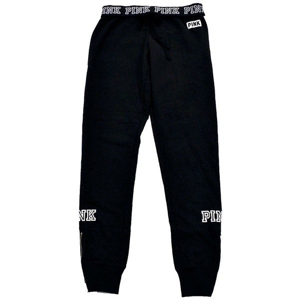 Victoria's Secret PINK Gym Pant Sweatpants Medium Black ($55) ❤ liked on Polyvore featuring activewear, activewear pants, gym pants, victoria secret sportswear, victoria secret sweatpants, victoria's secret and sweat pants