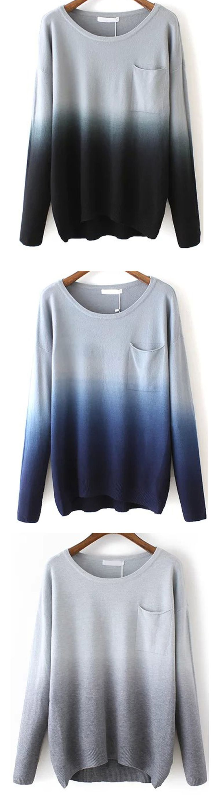 Good choice for quick fashion street piece.Black Dip Hem Ombre Pocket Sweater at M.SHEIN.com. There are there color to chose. A warm fall will excite you !