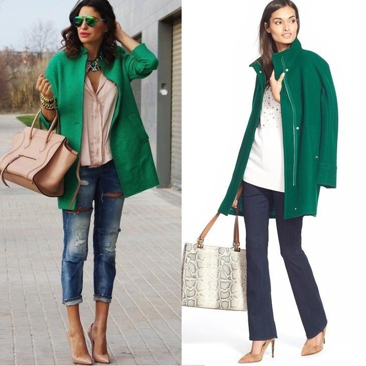 зеленое пальто с джинсами и рюками