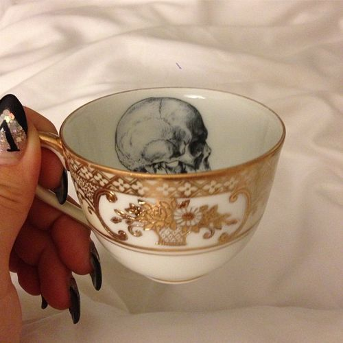 Skull Teacup, I really must have a whole set of them immediately. Where O where can I obtain them?? I NEED them!! http://www.skullclothing.net