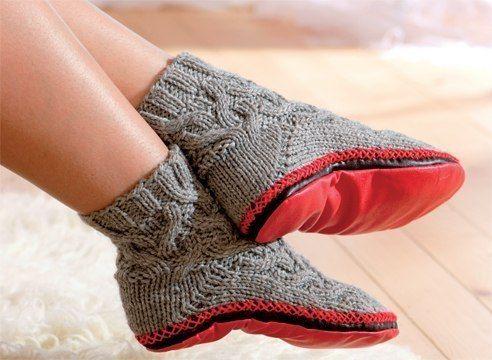 Тапочки-носки или носки с подошвой. Вяжем спицами